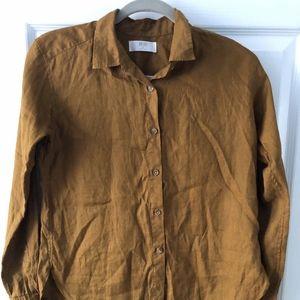 Uniqlo XS Linen Button Up Shirt Marigold